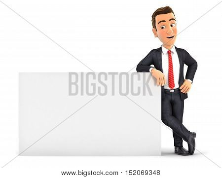 3d businessman leaning against white wall illustration with isolated white background