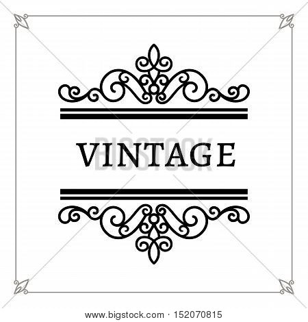 Decorative frame vintage calligraphic vignette decorative design element in retro style scroll embellishment on white poster