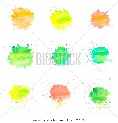Watercolor circles isolated on white background. Set of colorful hand painted drops. Autumn tints. Bright vector illustration.