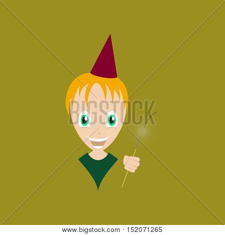 flat illustration on stylish background of child sparkler