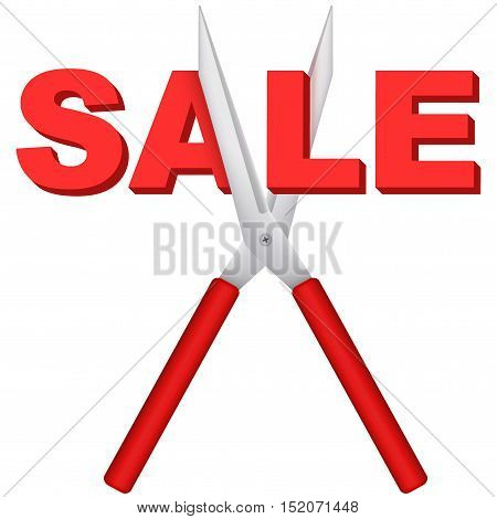Sale word cut large scissors. Price decrease and drop cost. Editable Vector illustration Isolated on white background.