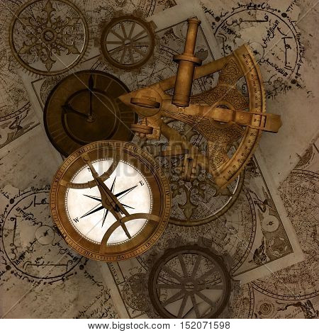 Compass and sextant on a vintage maps background - 3D illustration