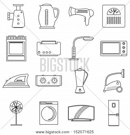 Household appliances icons set. Outline illustration of 16 household appliances vector icons for web