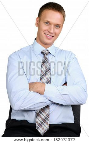 Friendly Man sitting on Chair with Arms Folded - Isolated
