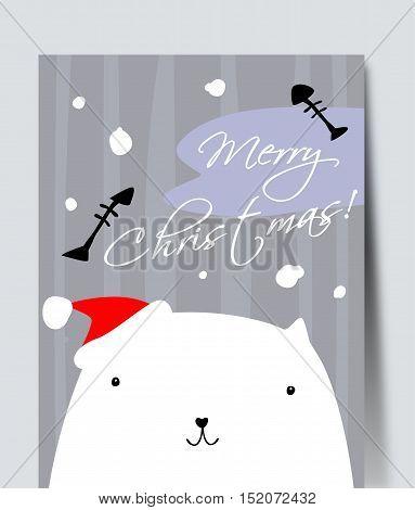 Pretty white cat. Simple vector Christmas illustration.