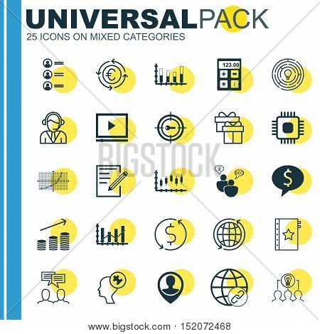 Set Of 25 Universal Editable Icons For Human Resources, Project Management And Computer Hardware Top