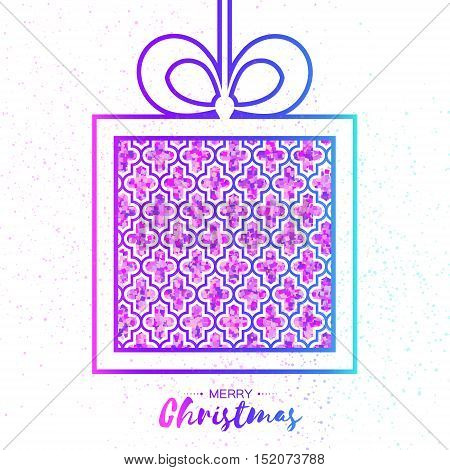 Christmas Greeting card. Purple glitter gift box with bow. Happy New Year on white background with symmetry ornament. Vector design illustration