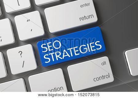 SEO Strategies Concept Modern Laptop Keyboard with SEO Strategies on Blue Enter Button Background, Selected Focus. 3D Illustration.