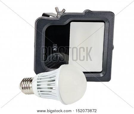 Outdoor Waterproof LED Floodlight and LED energy saving bulb isolated On White Background