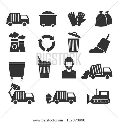 Trash recycle garbage waste vector icons. Container for junk and waste processing plant illustration