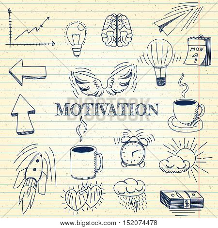 Vector - Hand drawn vector illustration set of motivation and buisness sign and symbol doodles elements, notebook background.