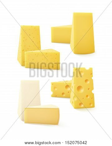 Vector Set of Triangular Pieces of Various Kind of Cheese Swiss Bri  Camembert Close up Isolated on White Background poster