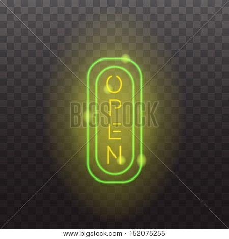 Glowing neon light sign open illuminated isolated on transparent background. Design elements Vector illustration
