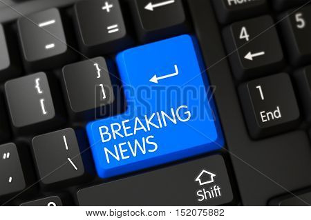 Key Breaking News on Modern Laptop Keyboard. 3D Render.