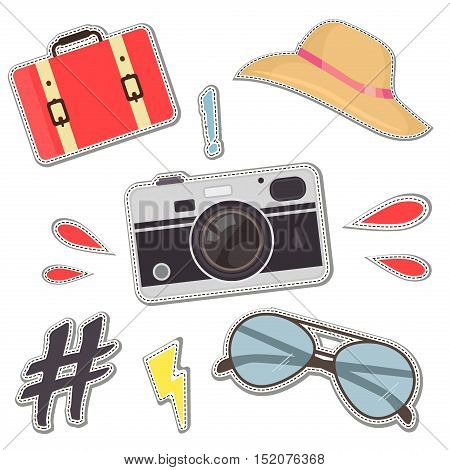 Fashion patch badges with camera, hat, bag, hipster sunglases vector set. Fashion patch badges elements. Vector embroidery, icon, print patch. Set of stickers, pins, patches in cartoon comic style.