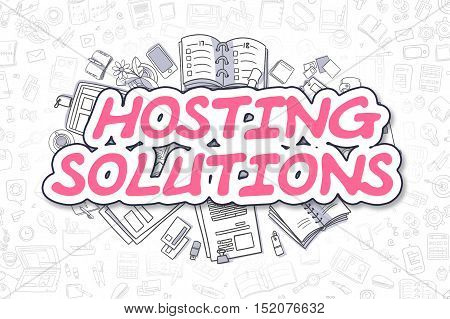 Magenta Word - Hosting Solutions. Business Concept with Cartoon Icons. Hosting Solutions - Hand Drawn Illustration for Web Banners and Printed Materials.