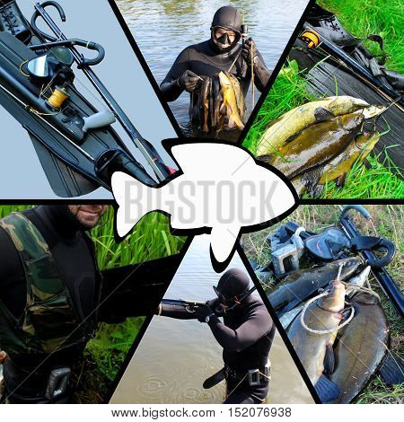 Collage on the theme of spearfishing,  lifestyle