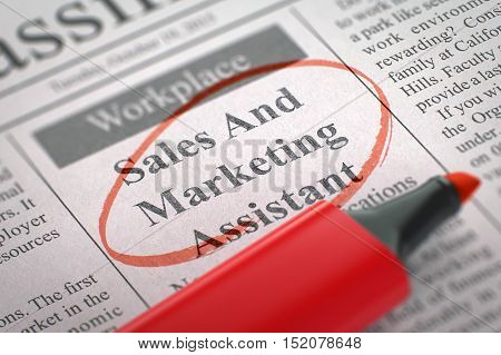 Sales And Marketing Assistant. Newspaper with the Job Vacancy, Circled with a Red Highlighter. Blurred Image with Selective focus. Job Search Concept. 3D.