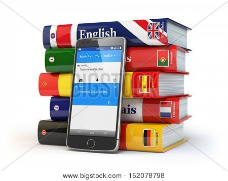 E-learning. Mobile dictionary. Learning languages online. Smartphone with books. 3d illustration