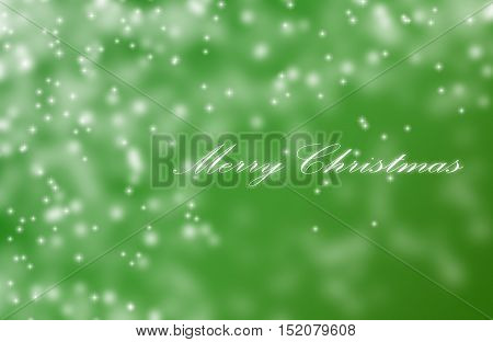 Merry Christmas Greetings Postcard With Blur Light Bokeh Green
