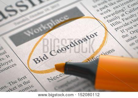 Newspaper with Vacancy Bid Coordinator. Blurred Image. Selective focus. Concept of Recruitment. 3D Render.