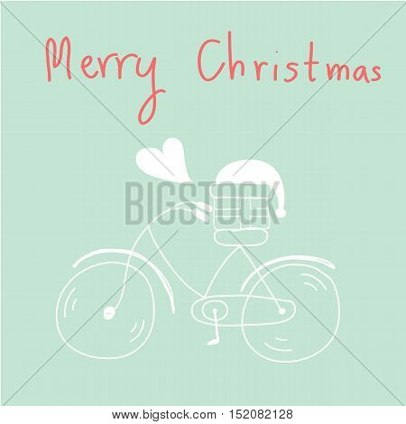 hand drawn bicycle gift and santa hat with heart Merry christmas Greeting card vector