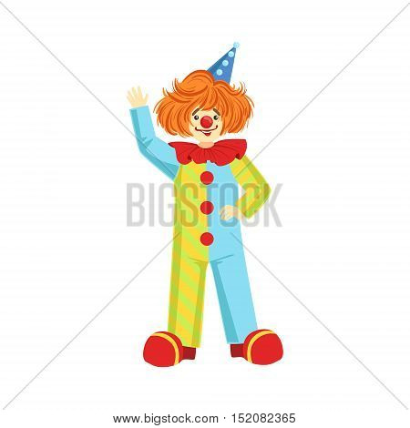 Colorful Friendly Clown In Party Hat Classic Outfit. Childish Circus Clown Character Performing In Costume And Make Up.