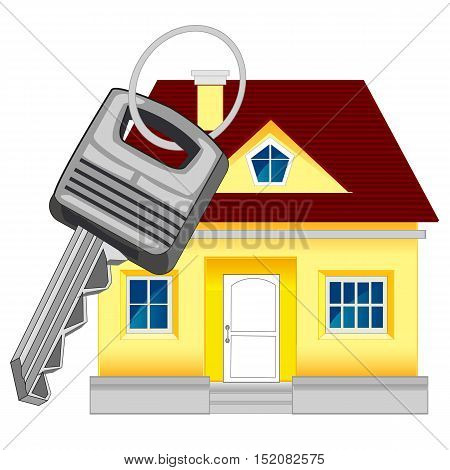 Small lodge and key from door on white background