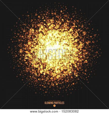 Abstract bright golden shimmer glowing round particles vector background. Scatter shine tinsel light explosion effect. Burning sparks. Celebration, holidays and party illustration