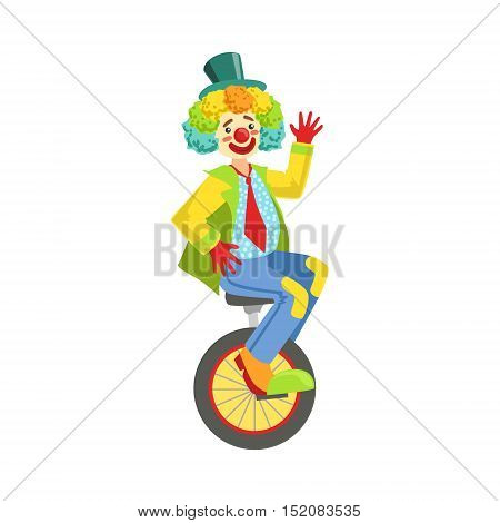 Colorful Friendly Clown With Rainbow Wig In Classic Outfit. Childish Circus Clown Character Performing In Costume And Make Up.