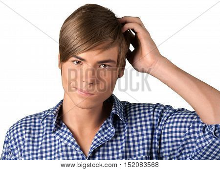 Portrait of a Young Man Scratching his Head