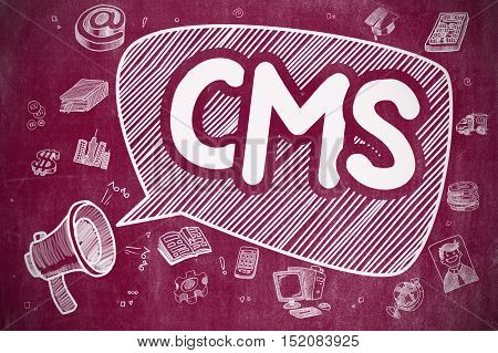 CMS - Content Management System on Speech Bubble. Hand Drawn Illustration of Yelling Megaphone. Advertising Concept.