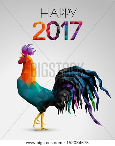 Low poly vector illustration depicting the Chinese zodiac sign of the rooster or cockerel. Happy 2017 Chinese New Year card. Eps10