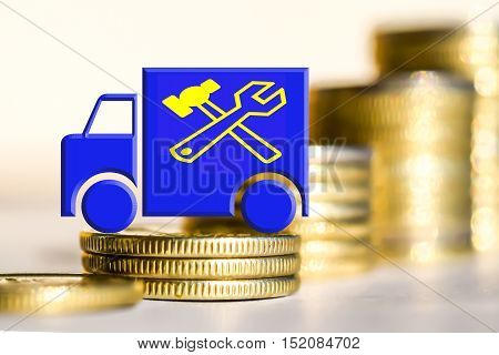 The truck and the service symbol on a background of money . The concept of quality of service .