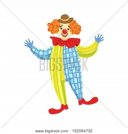 Colorful Friendly Clown In Derby Hat And Classic Outfit. Childish Circus Clown Character Performing In Costume And Make Up.