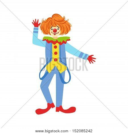 Colorful Friendly Clown With Suspenders In Classic Outfit. Childish Circus Clown Character Performing In Costume And Make Up.