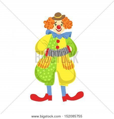 Colorful Friendly Clown Playing Accordion In Classic Outfit. Childish Circus Clown Character Performing In Costume And Make Up.