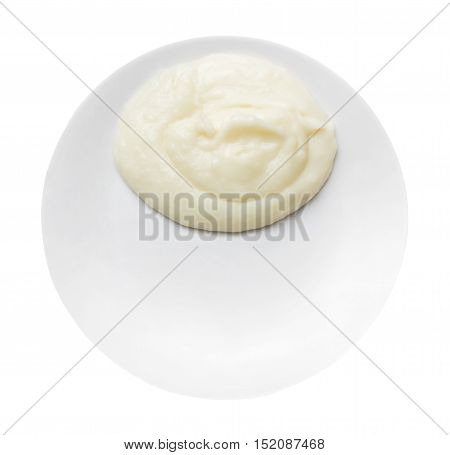 mashed potatoes on a plate isolated isolated on white background with clipping path top wiew