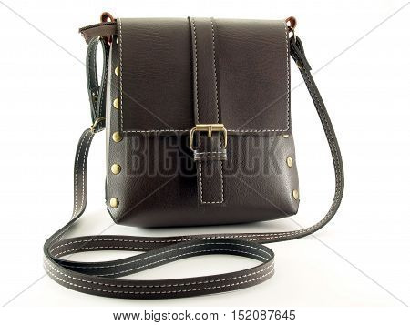 Brown shoulder bag on white background, Fashion accessory for teenage girls