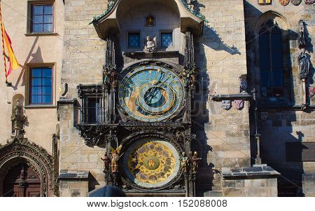 Close up of Prague ancient famous astronomical clock, called orloj, with zodiac signs in the center of medieval Czech capital