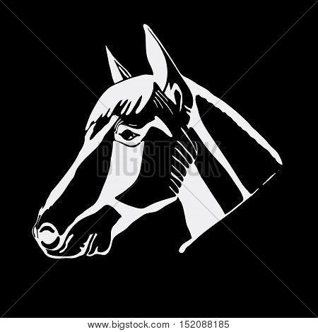 Logo, symbol, sign, stencil horse head.Unique technique Vintage hand drawn style