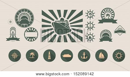 vector set of summer holidays and sea travel emblems and design elements. flat style icons collection
