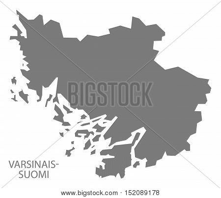 Varsinais-Suomi Finland Map grey illustration high res