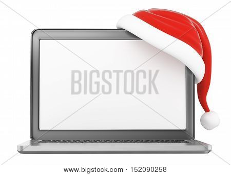 3d christmas illustration. Laptop with blank screen and Santa Claus hat. Isolated white background.