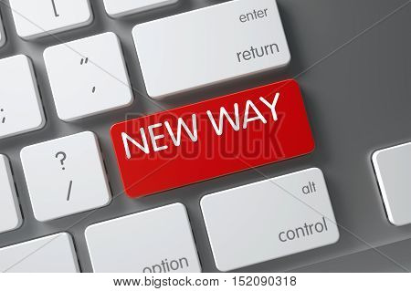 New Way Concept Laptop Keyboard with New Way on Red Enter Button Background, Selected Focus. 3D Render.