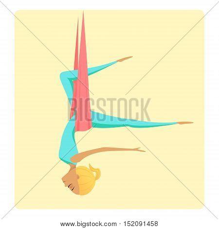 Aero-yoga vector illustration. Antigravity yoga. Girl in hammock practicing aerial yoga.