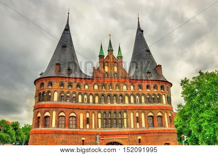 The Holsten Gate or Holstentor in Lubeck old town - Germany, Schleswig-Holstein