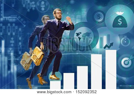 Image of young businessman jumping over steps of a chart or graph. concept of career success