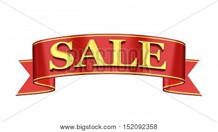 Red and gold promotional banner Sale , 3d illustration