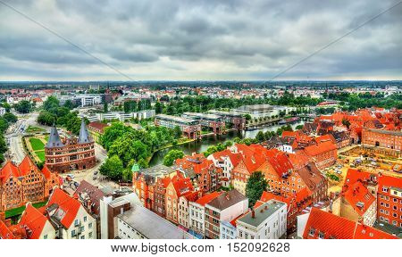 View of Lubeck old town, a UNESCO heritage site in Germany, Schleswig-Holstein region